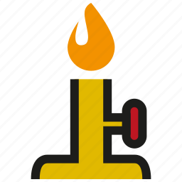 bunsen burner, chemistry, flame, gas, hot, laboratory, science icon