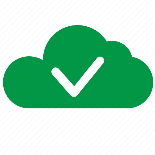 accept, cloud, complete, green, ok icon