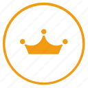 circle, crown, gold, king, queen, round, royal icon