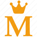 alphabet, crown, english, gold, letter, m, royal icon