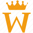 alphabet, crown, english, gold, letter, royal, w icon