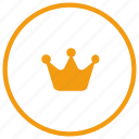 circle, crown, gold, label, round, royal icon
