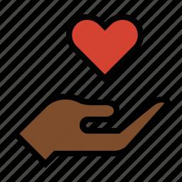 care, hand, heart, love icon