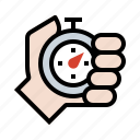 stopwatch, race, timer, hand icon