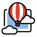balloon, cloud, float, hot air balloon icon