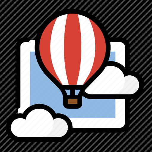 balloon, cloud, float, hot air balloon icon