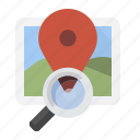 location, magnifying glass, search