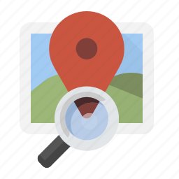 location, magnifying glass, search icon