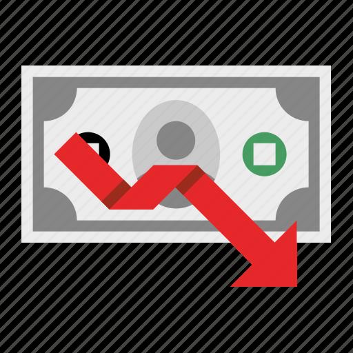 declining, dollar, loss, money, profit icon