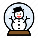 christmas, snow globe, snow man, winter icon
