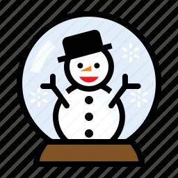 christmas, snow globe, snow man, winter icon