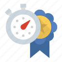 award, personal record, pr, ribbon, stopwatch icon