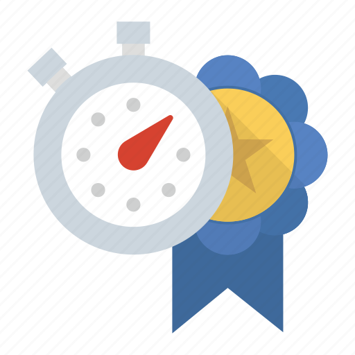 award, personal record, pr, ribbon, stopwatch icon