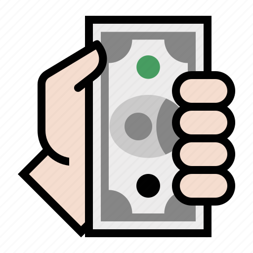 cash, donate, hand, money, pay icon