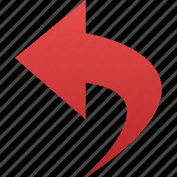 arrow, back, backward, bent, curved, last, left, previous, rearward, reply, undo icon