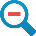 explore, explorer, find, locate, lookup, magnifying glass, minus, out, search, zoom icon