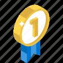 award badge, badge, first position, ribbon badge, winner badge icon