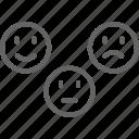 feedback, line, positive, emotion, negative, neutral, face icon