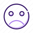 bad, emoticon, expression, face, sad, smiley icon