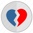 broken, divorce, heart, love, over, separation icon