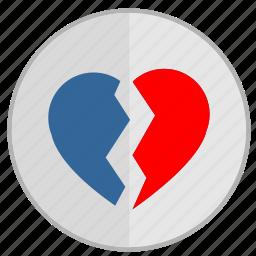 broken, divorce, heart, love, over, separation icon