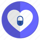feeling, heart, lock, no, unfeeling icon
