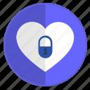 feeling, heart, lock, no, unfeeling icon