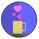 coffee, feel, heart, love, romantic, tea icon