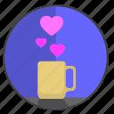 coffee, feel, heart, love, romantic, tea icon