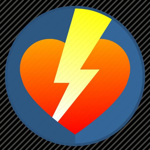 feel, heart, love, romantic, shock icon