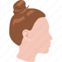 fashion, haircut, high, ladies, practical, style, topknot icon
