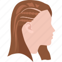 braided, hair, half, ladies, plaited, plaits, spiral icon
