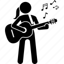 female, girl, guitar, playing, standing, strap, woman icon