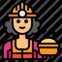 worker, avatar, occupation, woman, mine icon