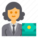 banker, avatar, occupation, woman, accountant icon