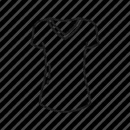 female shirt, shirt, short sleeve, short sleeve shirt, t-shirt, v neck, v neck shirt icon