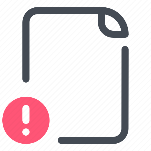 Document, file, optimization, alert, attention, important, warning icon - Download on Iconfinder