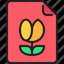 document, file, flower, image, media, photo icon