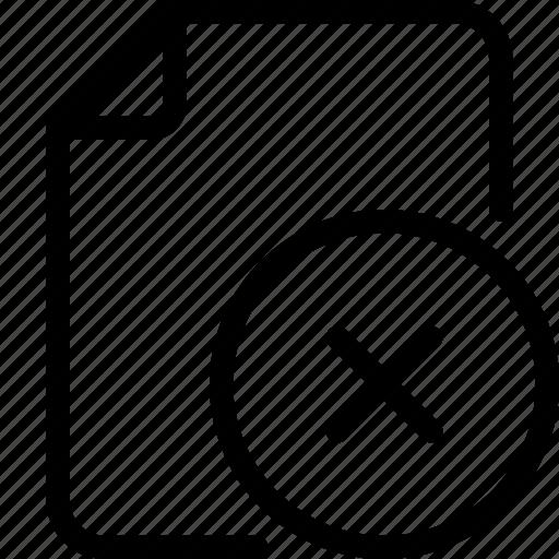 document, file, folder, paper icon, remove icon