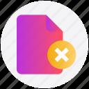delete, delete file, document, file, reject icon