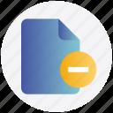 delete, document, file, remove, remove file icon