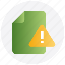 alert, document, document warning, file, warning icon