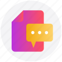 chat, comment, file, file message, message, paper icon