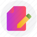document, edit, file, menu, pencil, writing icon