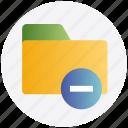 delete, directory, document, folder, minus, remove