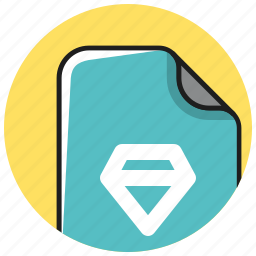diamond, documents, file, format, paper, sketch icon