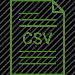 csv, extension, file icon