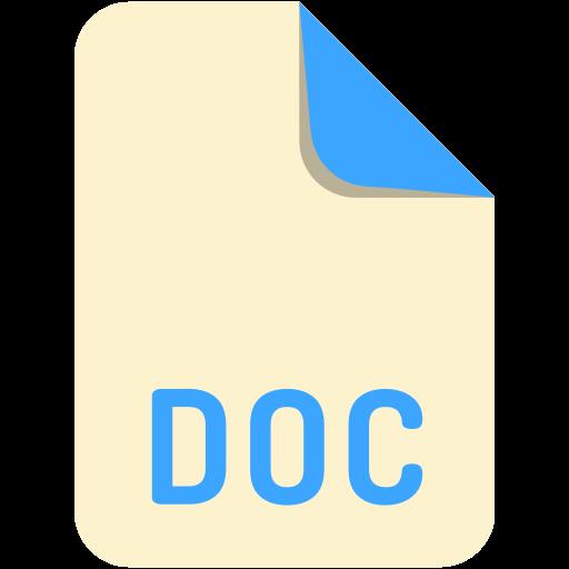 doc, extension, file, name icon
