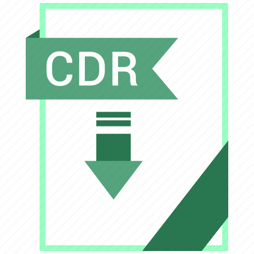 Cdr, paper, document, extension, format icon