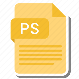 document, extension, folder, paper, ps icon